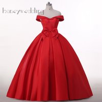 Wholesale Samples Evening Wear - Real Sample Off Shoulder Dresses Evening Wear With Bowknot Trimmed Draped Burgundy Red Satin Lace Up Women Maxi Long Prom Dress Ball Gowns