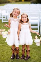 Wholesale Orange Country Girl - 2016 Lovely Country Style Flower Girl Dresses for Wedding Crew Neck A Line Lace Cute Kids Dresses For Junior Bridesmaid Custom Made