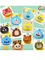 Wholesale Girls Clear Purses - Girls Silicone Animal Cartoon small Cute Coin Purse change wallet ladies key purse wallet Coin bag Mini Wallet
