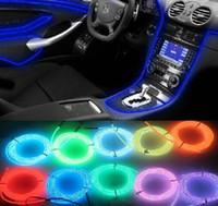 lámpara de coche interior al por mayor-Accesorios para el coche Interior Lámpara de atmósfera de luz de neón flexible EL Glow Cable de alambre con encendedor de cigarrillos para la boda de Navidad Decoración automática