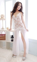 Wholesale Sexy Chiffon Sheer Babydoll - w1022 2014 Summer Sexy White Sheer Lace Babydoll Dress For women Long Gown Sleepwear