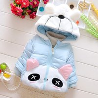 Wholesale Baby Panda Jacket - Wholesale-2015 winter new baby girls coat 6-24months black eyes panda thick cotton girl jacket for baby GC135 newborn warm jacket