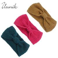Wholesale Wide Crochet Elastic - Wholesale- Uunik - Baby girl Knit Wide Crochet Turban Headband Warm Hair Accessories For Newborns Super Elastic Winter Ears Hair Headwrap
