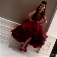 Wholesale Myriam Fares Hot - 2015 New Arrival Myriam Fares Evening Dresses Cheap Crew Neck A-Line Tiers Burgundy Prom Formal Party Dress Ball Women Dress Custom new hot