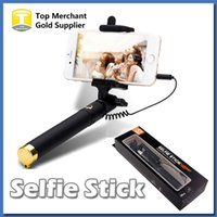 Wholesale carbon fiber selfie monopod - Brand new Audio cable Integrated Monopod wired Selfie Stick Extendable Handheld Built in Shutter and Clip for IOS iPhone Android Smart phone