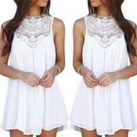Wholesale Lace Top Chiffon Short Dress - Women Girl's Casual Vintage A-Line Short Dress Shirt Tops Chiffon Lace Crochet Sleeveless Including Asia S-XXL Size ED233 Free Shipping