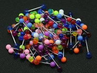 Tongue Rings Mix Colors 100pcs Cuerpo Piercing Jewelry Acero inoxidable Barbell Acrylic 6mm Ball Earring