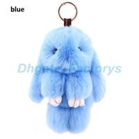 Wholesale Real Doll Supply - Multicolor 14cm Cute Rabbit Doll Key Chain Phone Bag Real Rex Rabbit Hair Fur Bags Car Pendant Hangings Keychain JF-717