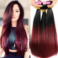 şarap kırmızı ombre saç toptan satış-En Kaliteli Ombre Brezilyalı Bakire Saç Örgüleri Demetleri Iki Ton 1B / 99J Şarap Kırmızı Brezilyalı Perulu Malezya Düz İnsan Saç Uzantıları