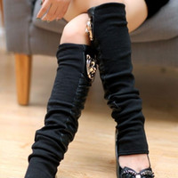 Wholesale Formal Boots - Wholesale-Leather Leg Warmer Boot Socks, Knitted Leg Warmer, Black Leather Boot Socks