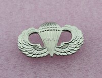 Wholesale Wings Pins - US ARMY AIRBORNE PARATROOPER PARACHUTIST JUMP WINGS BADGE PIN-- silver
