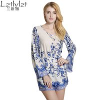 Wholesale Couture Wholesale Fashion - Wholesale- Blue Situ 2017 new winter couture fashion sexy long sleeved Jumpsuit collar printing V