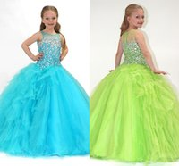2018 Lime Green Ball Gown Bateau Sheer Crystals Girl's Pageant Abiti Ruffles A Line Flower Girl Abiti Abiti formali Party Time HY1127