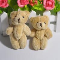 Wholesale Jewellery Bouquets Wholesale - Bulk 50pc 8CM Short Wool Plush Mini Teddy Bear Ursinho De Pelucia Jewellery Accessory Gift Key chain soft toys for bouquets