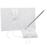 Wholesale Ivory Wedding Book Pen Set - 2Pcs setSatin Wedding Guest Bookand Pen Set 8 Colors Home Party Wedding Decoration Airticles Supply SXZ