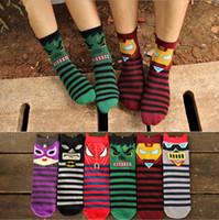 Wholesale Korean Wholesale Socks - Wholesale-free shipping fashion 6pcs=3pairs=1 lot free sizeAutumn Korean lady Avengers socks cotton socks for men short socks man