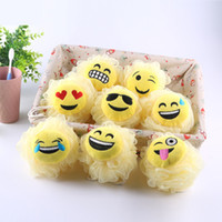 Wholesale body balls children - Hot sale Cartoon emoji shape Bath flower Super soft children Bath ball Home bathroom supplies IA995