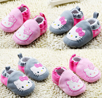 Wholesale China Wholesale Fallen Shoes - Wholesale cartoon toddler shoes,gray pink baby shoes,fall soft princess single shoes,lovely cat girls shoes,china shoes.6pairs 12pcs.C