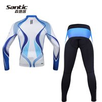 Wholesale Mens Road Cycling Jersey - Wholesale-Pro Cycling Jersey 2015 Santic Mens Long Sleeve Winter Mtb Road Bike Bicycle Jersey Cycling Pants Clothing Set Ropa Ciclismo