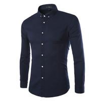 Wholesale long sleeve red formal for men - Wholesale-Hot Sale Men Brand Shirt High Quality Men Formal Business Dress Shirts Long Sleeve Solid Shirt For Men M-XXXL 9205