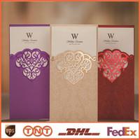 convites de casamento roxos imprimíveis venda por atacado-Convites de casamento Romântico China Impressão Livre Imprimível Vermelho Roxo Cartões de Corte A Laser Convites de Casamento Elegante CW2002
