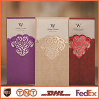 Wholesale China Wedding Invitation Cards - Wedding Invitations Romantic China Free Printable Printing Red Purple Cards Laser Cut Wedding Invitations Elegant CW2002