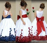 Wholesale Taffeta Chiffon Flower Girls - Red Flower Girl Dresses 2016 For Weddings Bow Sleeveless Taffeta Flowers Scoop Neck Custom Made Pageant Gowns Custom Party Dresses For Girls