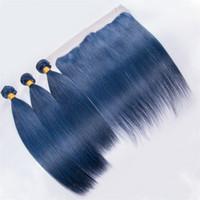 couleur cheveux bleus achat en gros de-Couleur bleu dentelle frontale fermeture avec faisceau de cheveux bleu clair indien cheveux humains droites tissages avec 13X4 dentelle frontale avec bébé cheveux