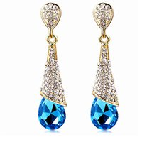 Wholesale Cheap Women Earrings - 18K GOLD Plated Austrian Crystal Earrings Water Drop Shape Stud Earrings For Women Cheap Earrings Jewelry For Wedding A103