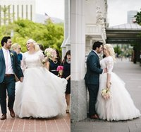 Wholesale Plus Sizes Skirts - 2016 Spring Plus Size Wedding Dresses Tiered Tulle Over Skirt Beaded Scoop Neckline with Half Sleeves Sash Applique Sweep Train Bridal Gowns