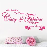 Wholesale Classy Quote - 8380 A girl should be Classy and Fabulous quote wall stickers flower vinyl home decoration wall decals for kids girl room
