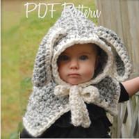Wholesale christmas shawl for girls - Cloak Shawl Hat Cartoon Rabbit Ears Wool Knitted Beanie For Infant Children Keep Warm Skull Caps New Arrival 29za B