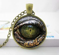 Wholesale Reptile Jewelry - Wholesale Handcrafted Pendant Necklace - Reptile Eye Jewelry -Glass Cabochon Game of thrones Dragon Eye Necklace