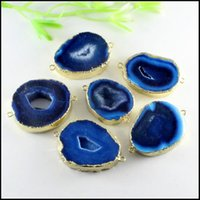 Wholesale Blue Agate Slice Pendant - 3pcs Gold Tone Quartz Nature Druzy Geode Agate Slice gem stone Drusy Connector Pendant in Blue color for Bracelet Jewelry findings