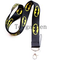 Wholesale Cellphones Chain - Free shipping 10pcs New polyester Batman lanyards movies cartoon key chains for mp3 4 5 cellphone