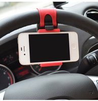 Wholesale car holder for iphone 4s - Suporte Para Celular Carro Universal Car Steering Wheel Mobile Phone Holder for iPhone 4S 5 5S 5C Galaxy S4 S5 GPS MP4 PDA