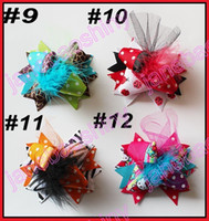 Wholesale Fun Bow - free shipping 45pcs 3'' Mini Funky Fun Over the Top Bows fashion girl hair bows feather clips