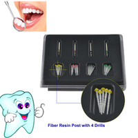 Wholesale Ship Dental Material - Free Shipping Dental Materials 1Box Dental Promotion 20 pcs Spiral Fiber Resin Post With 4pcs Quartz Drill Screw Thread Packed In Box