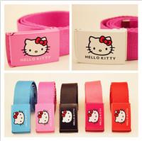 merhaba kanvas toptan satış-Kızlar Hello Kitty Kemer Çocuklar Hello Kitty Tuval Askı Karikatür Kız Sapanlar Çocuk Elastik Kemerler Otomatik Toka 13 Stilleri