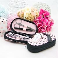 bolsas cor-de-rosa bonitos venda por atacado-Última moda Vouge rosa bonito 'Pink Polka Purse' chinelos manicure define pedicure para casamento nupcial / festa festival decoração