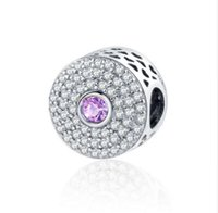 Wholesale purple abstract - 2017 Spring Collection Fit Pandora Charms Bracelet Original 925 Silver DIY Beads Abstract Charm With Clear Green Purple Pink CZ