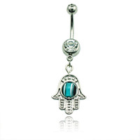 Wholesale Hand Belly Ring - Fashion Belly Button Rings 316L Stainless Steel Dangles Hand And Blue Eyes Navel Body Piercing Jewelry
