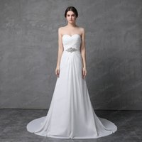 Wholesale Chiffon Court Train Strapless - Strapless A line Chiffon Pleated Wedding Dress Rhinestone Belt High Quality Real Photo Simple Bridal Gown