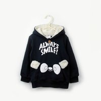 Wholesale Korean Boys Dressing - Korean children dress baby girls and boys sweater in spring and autumn new lamb plus velvet Hooded Jacket Shirt tide