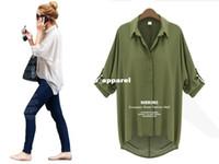 Wholesale White Ruffle Blouse Xl - 5770 2015 new fashion women loose blouses Chiffon Sexy Summer long sleeve Shirt Top white casual blouses blusas