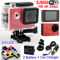 Wholesale Used Car Battery Charger - SJ8000 WiFi Sports Camera 1080P 60fps 16MP Real HD 4K 24FPS Waterproof Action Camera + Car bracket Battery Charger 2.0LCD Helmet Video DVR