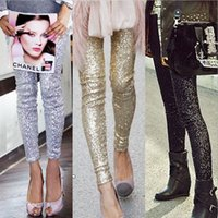 Wholesale Gold Sequin Trousers - S-XL 2015 Plus Size Women's Pants Fashion Bling Sequin Trousers,Shining Gold Black Silver Spangle Sequin Formal Women Pants