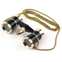 Wholesale 3x25 Binocular - Wholesale-Black 3x25 Glasses Coated Binocular Telescope Theater Opera glass  lady glass with Gold Trim & Necklace Chain