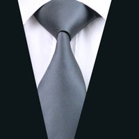 Wholesale Gray Silk Suits For Men - Classic Gray Necktie for Men Silk Jacquard Woven Business Tie Meeting Casual Solid Grey Suit Tie D-0311