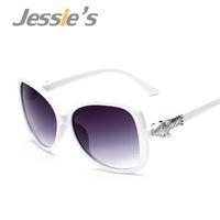 Wholesale Leopard Accessories Women - Wholesale-8 Color Luxury Oversized Butterfly Sunglasses Women Brand Designer Metal Leopard Accessories Goggle oculos de sol feminino S074